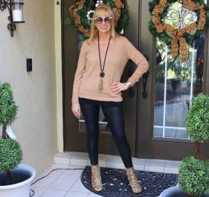 Faux Leather Leggings + Khaki Sweater + Leopard Booties