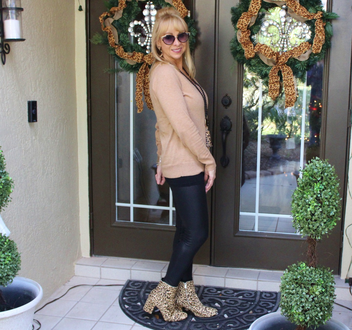 Faux Leather Leggings + Khaki Sweater + Leopard Booties