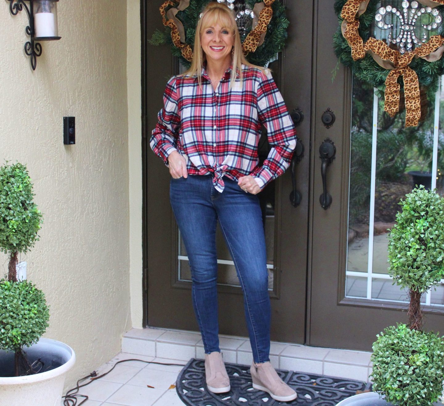 Plaid Shirt + Jeans + Wedge Sneakers