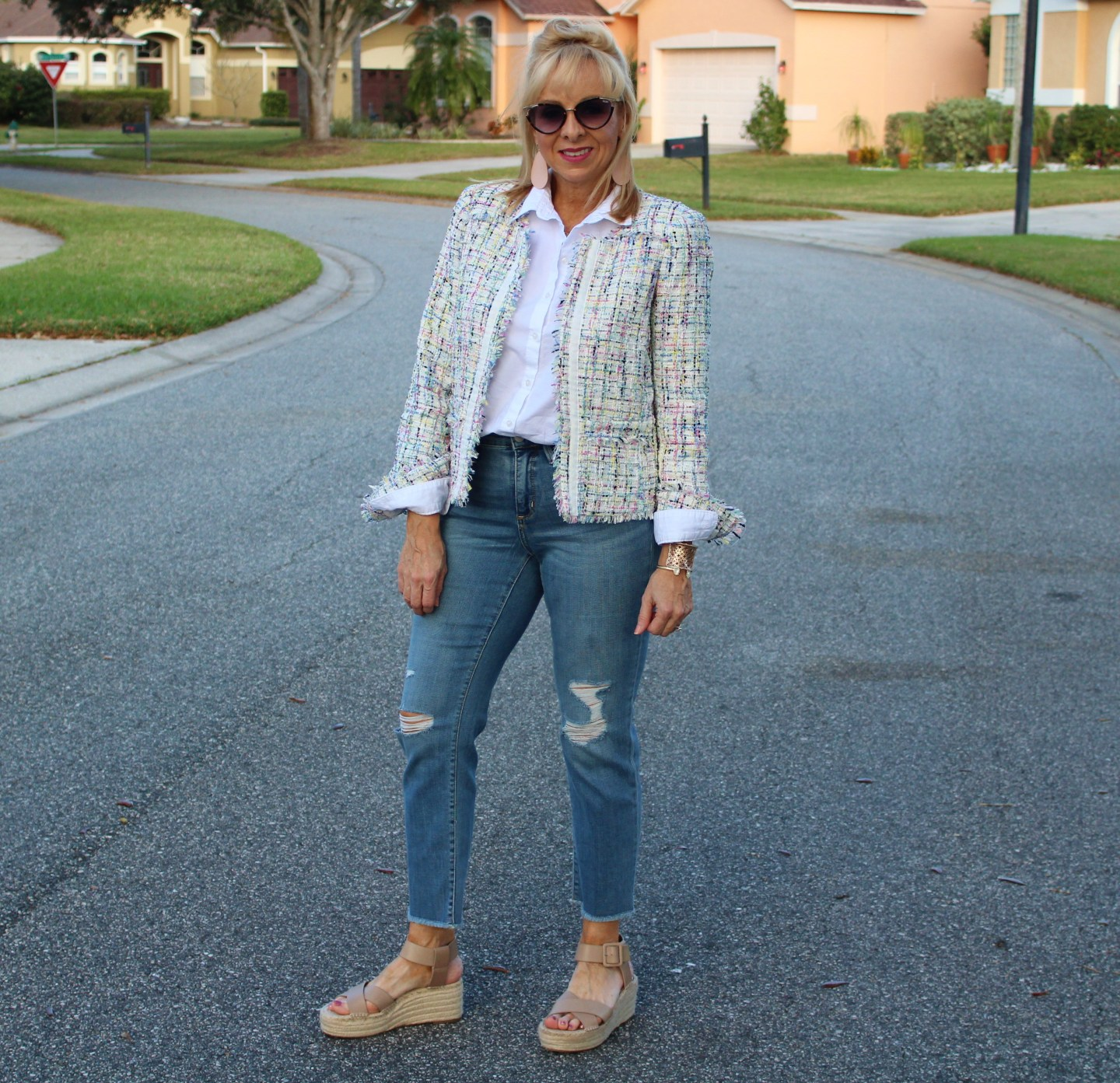 Tweed Jacket + Distressed Denim