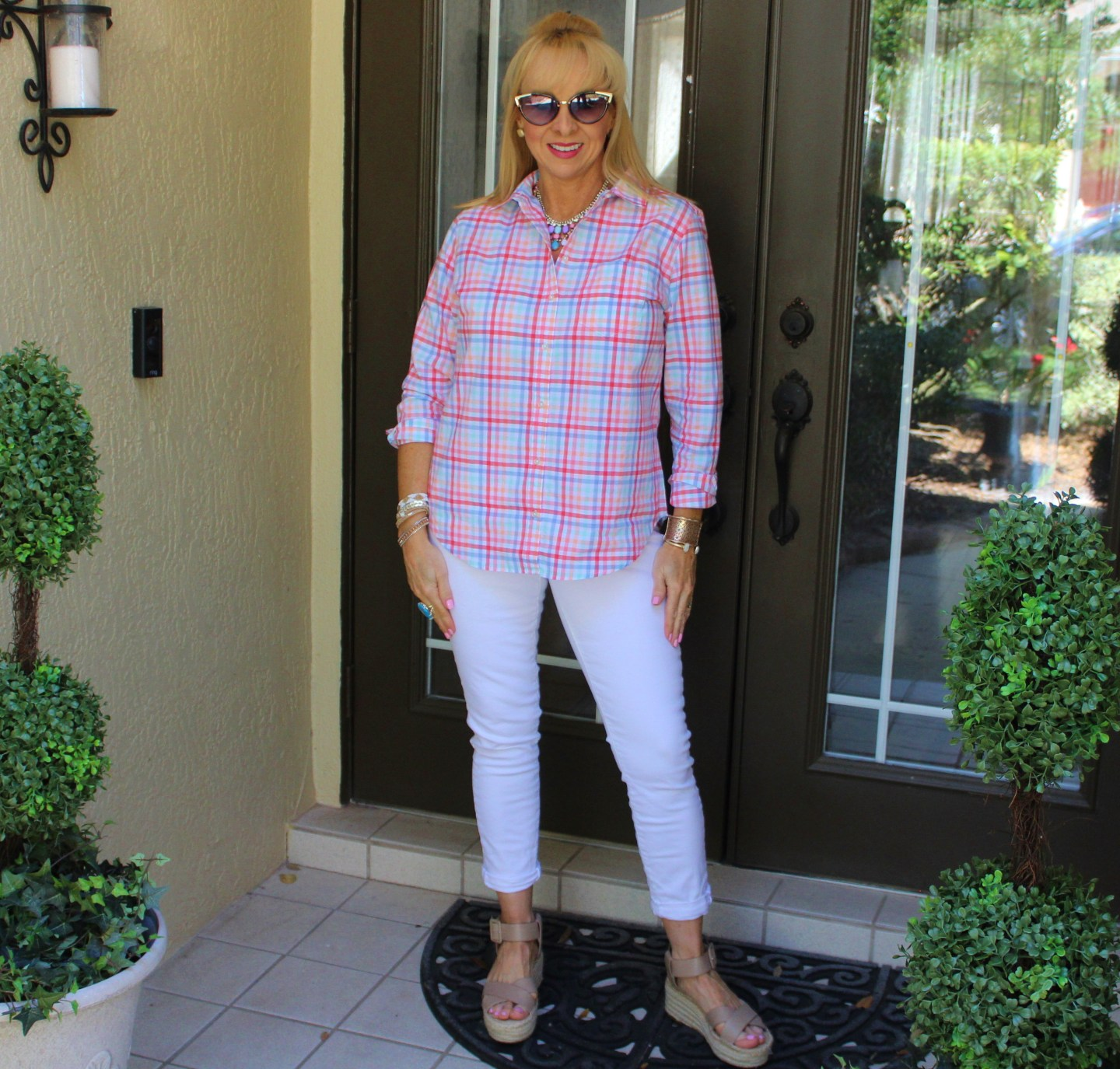 Pastel Gingham Shirt + White Denim