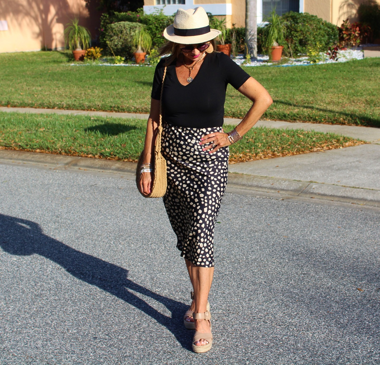 Leopard midi skirt + Black Bodysuit + Hat + Wedges