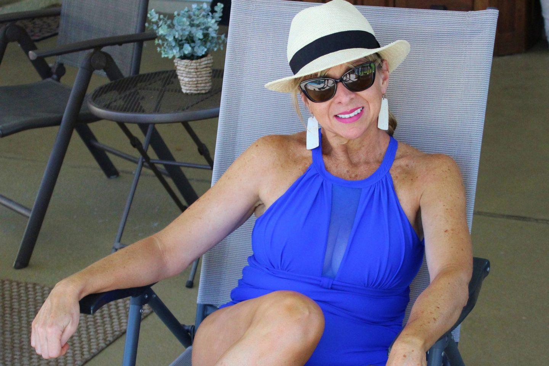 Blue swimsuit