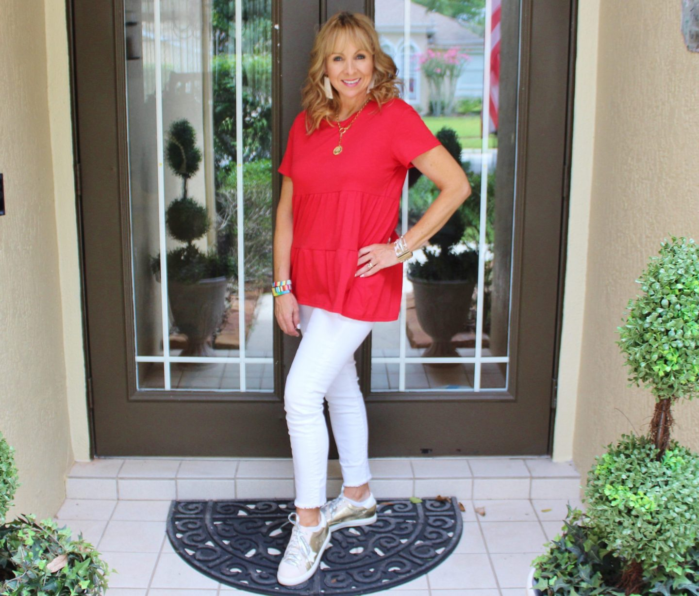 Red Tiered Tee + White Jeans + Sneakers