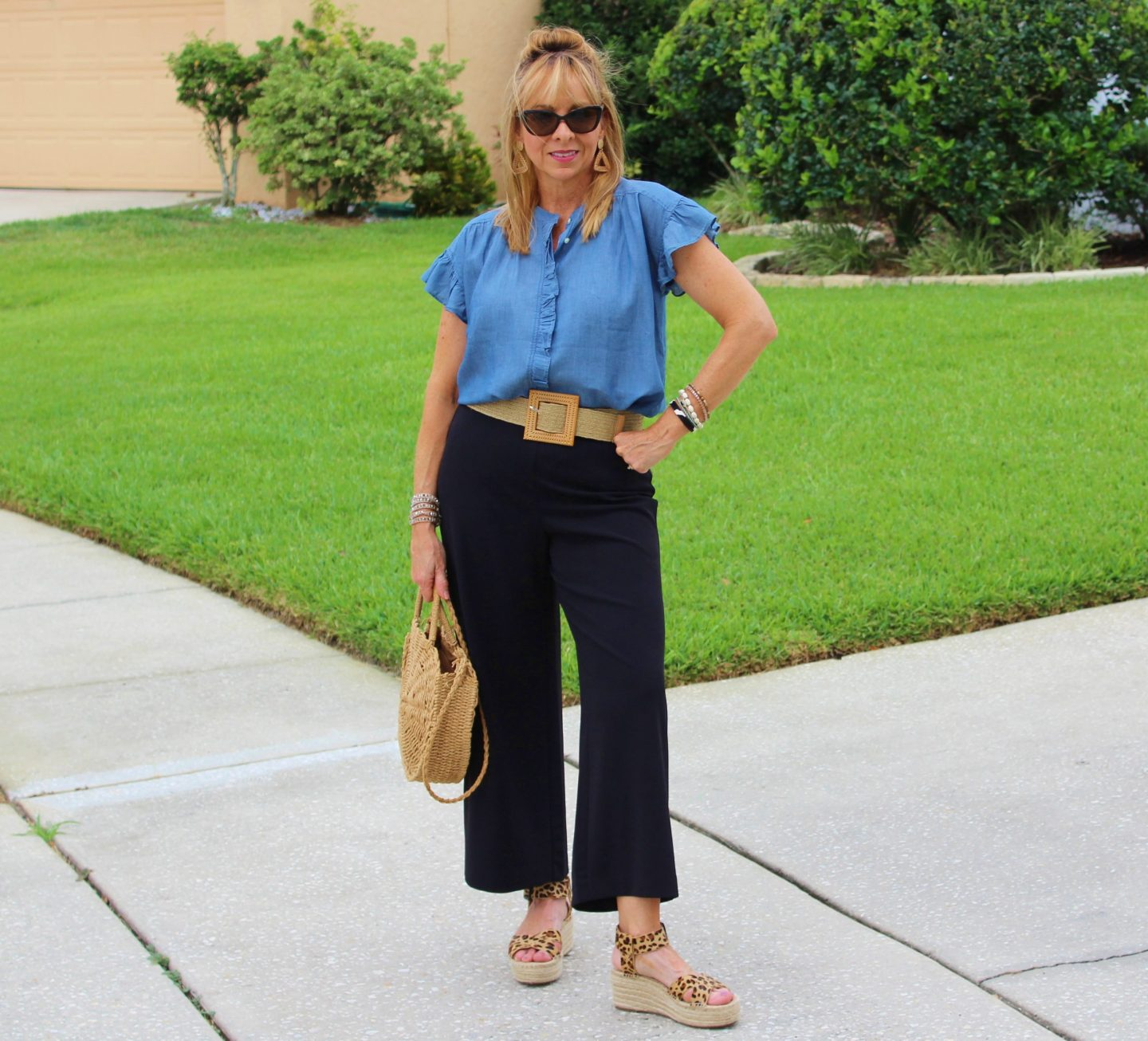 Chambray Sleeveless Top + Black Wide Leg Pants + Rattan Belt + Leopard Espadrilles