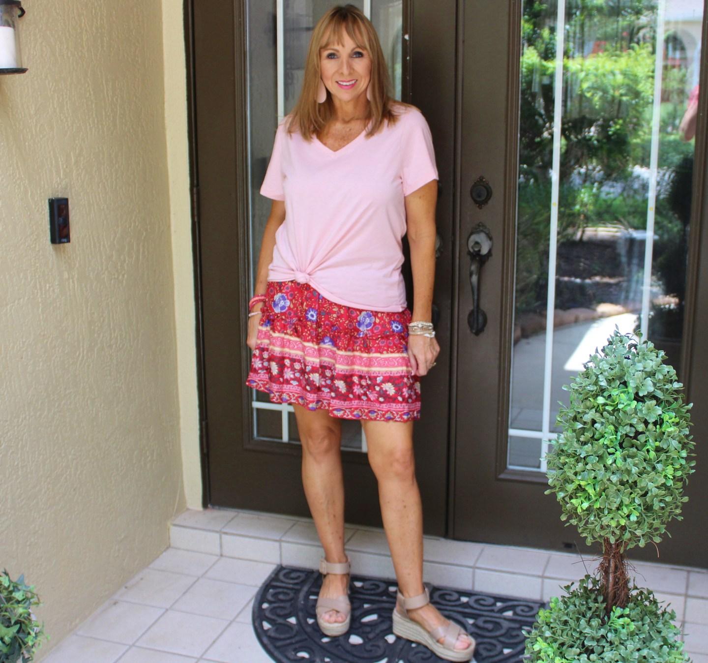 Pink Tee + Short Skirt