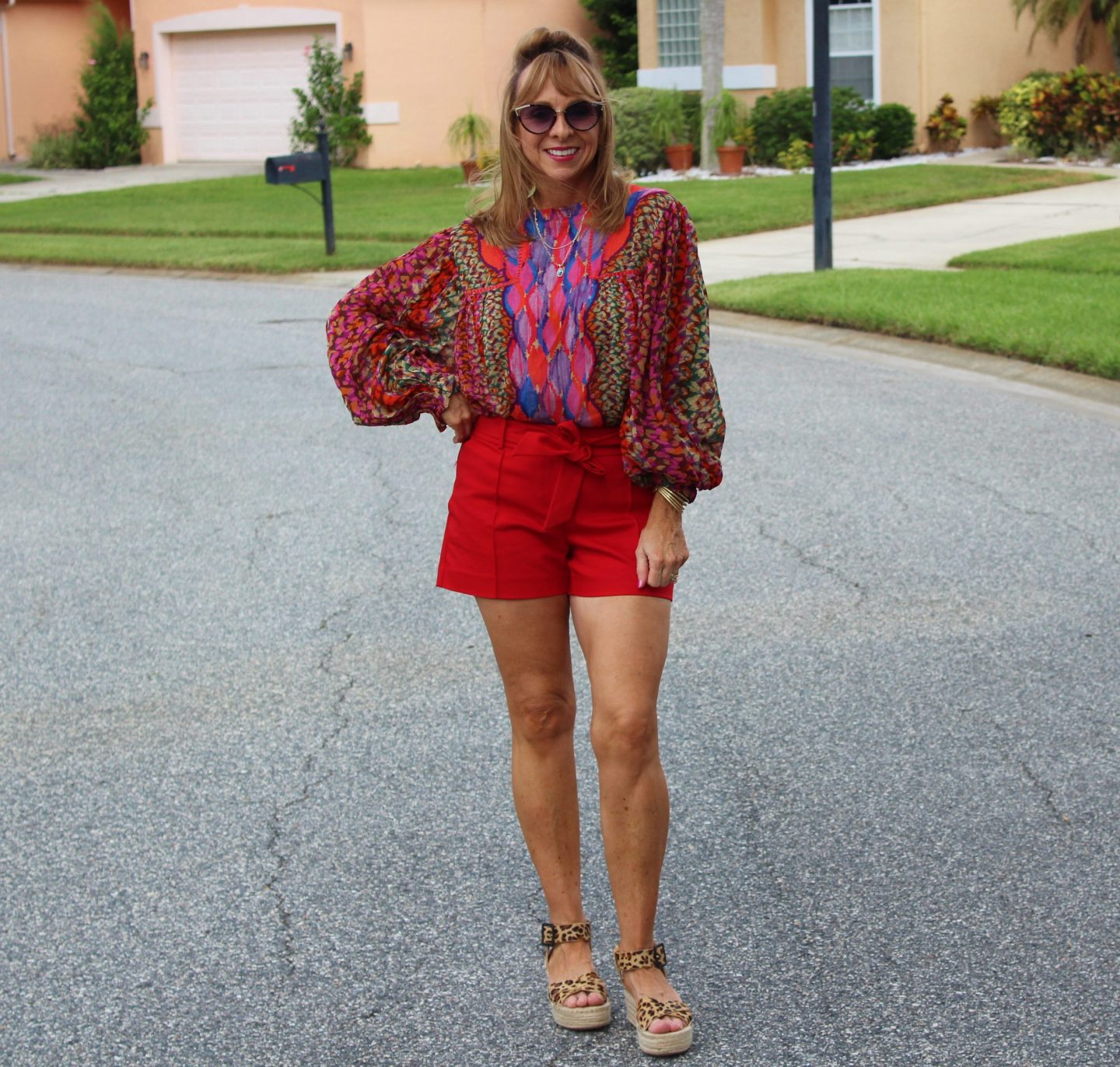 Anthropologie Peasant Blouse + Red Shorts