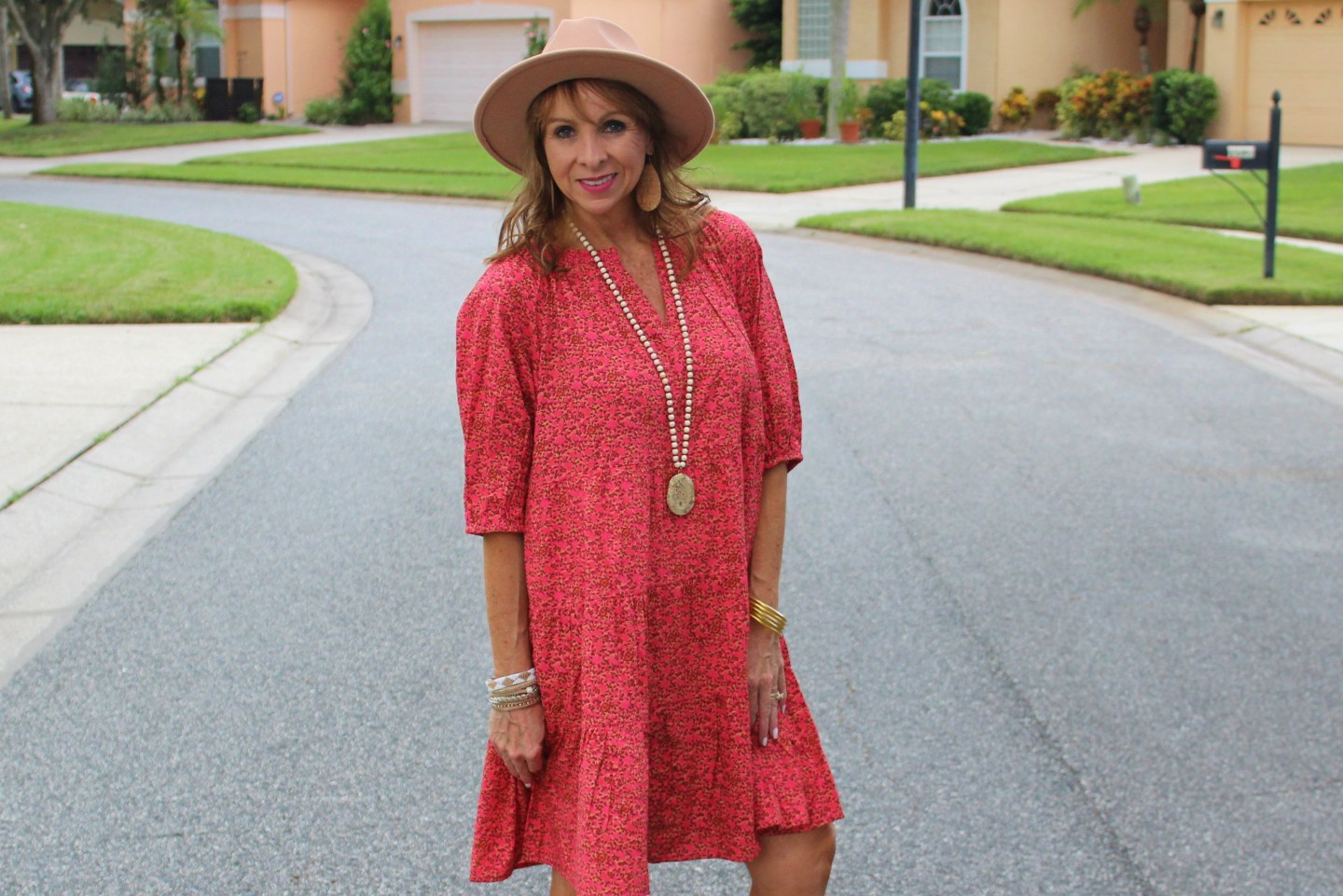 Fall Tiered Dress + Booties + Hat