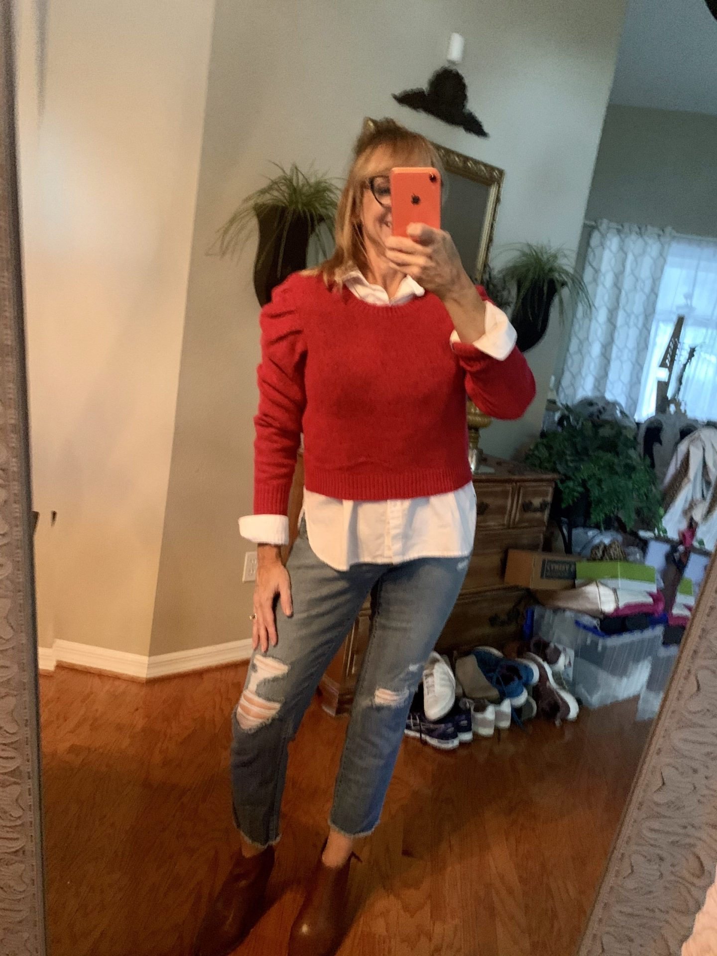 Red Cropped Sweater + Denim