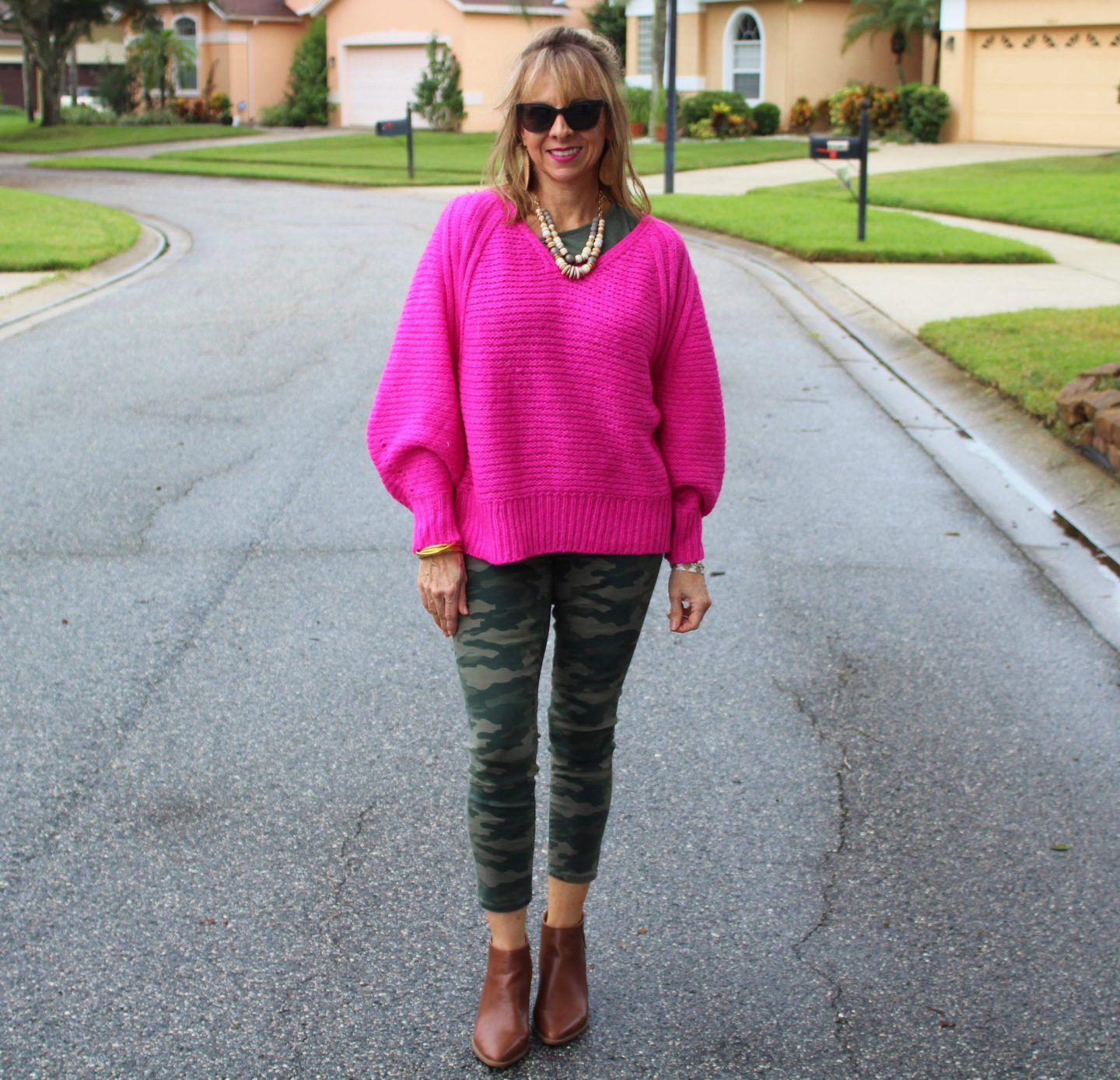 Bright Pink Sweater + Camo Pants