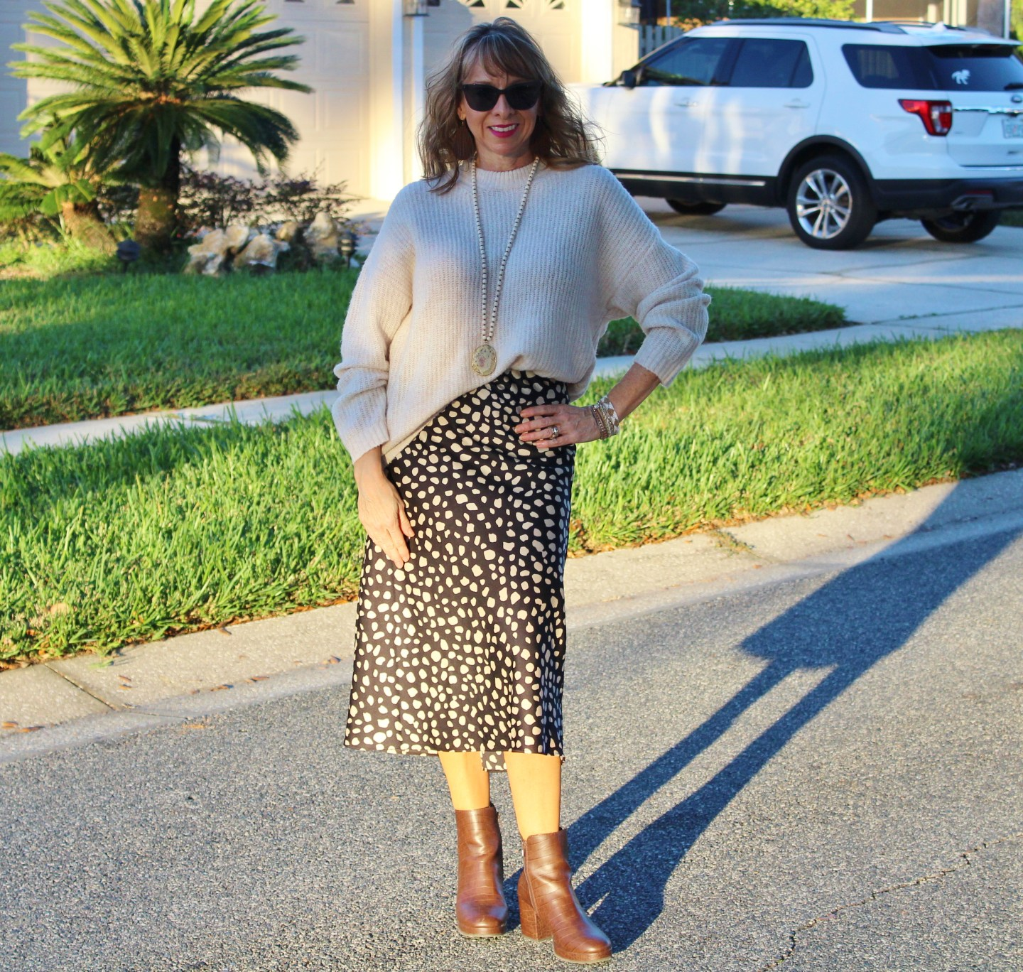 Slouchy Sweater + Midi Skirt