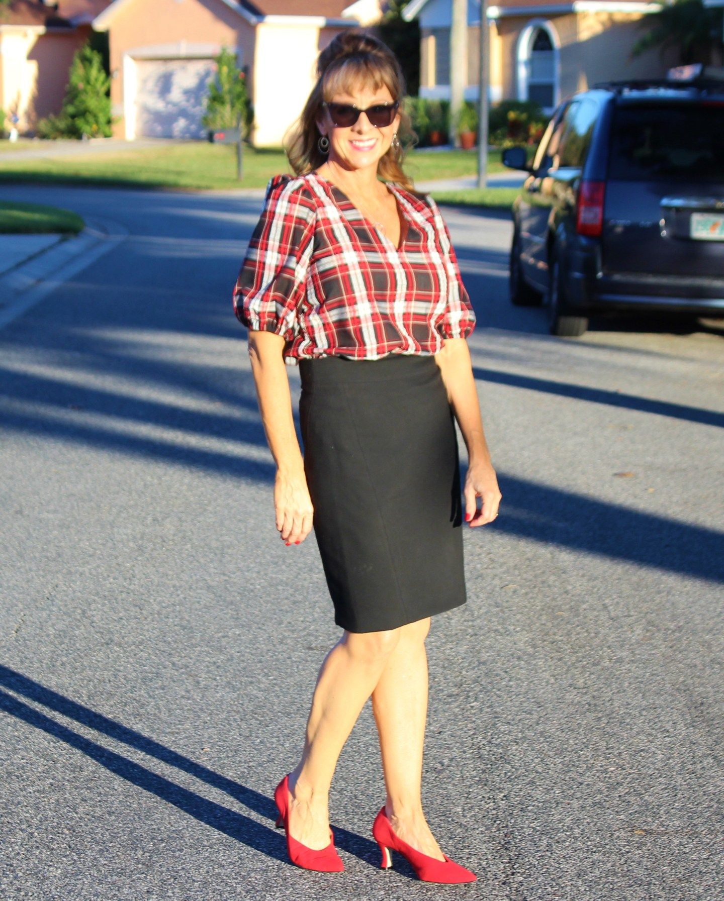 Loft Plaid Puff Sleeve Blouse + Black Pencil Skirt + Red Pumps
