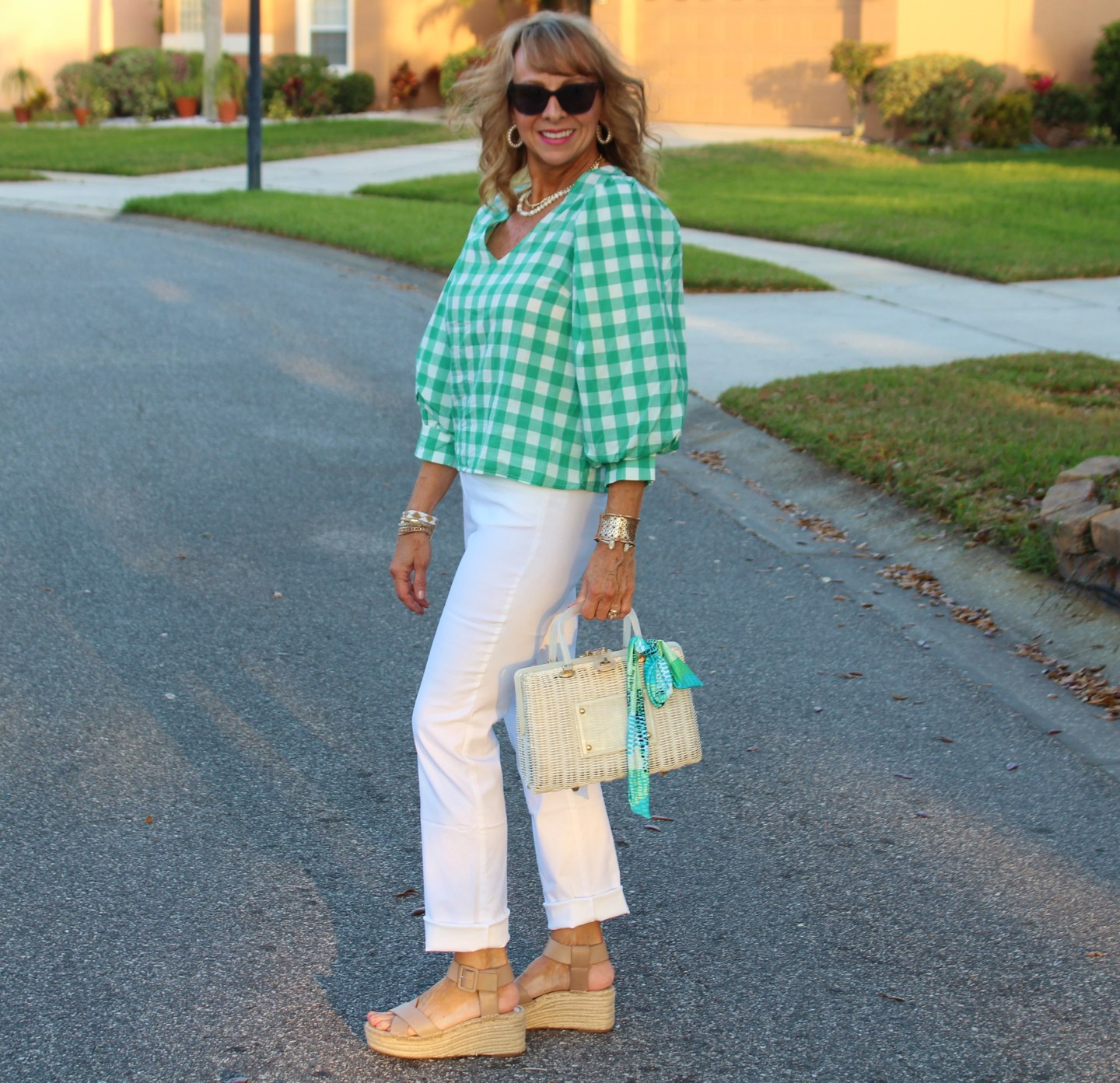 Chico's White Pants + Traget Green Gingham Puff Sleeve Top