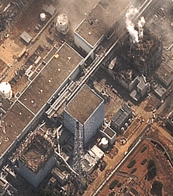 Steam appears to be billowing up from the damaged Reactor 3 at the Fukushima Dai-ishi plant, suggesting the pool containing spent fuel has been compromised