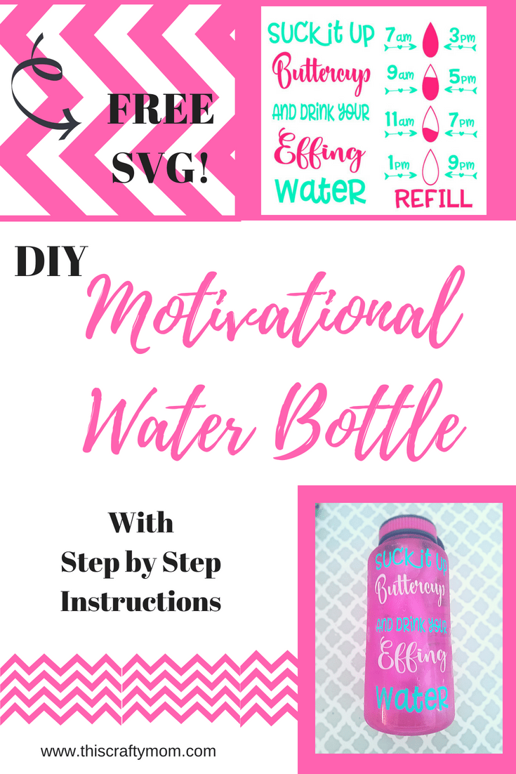 Water Bottle Svg Free : water, bottle, Motivational, Water, Bottle, Crafty