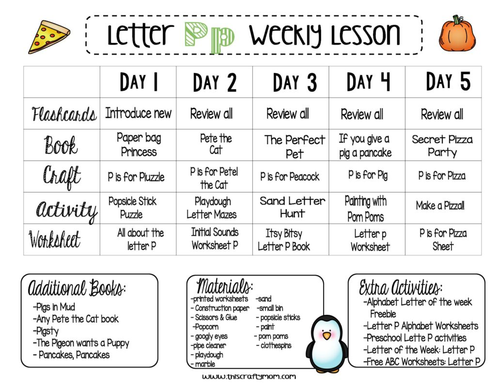 Free Preschool Letter P Weekly Lesson Plan