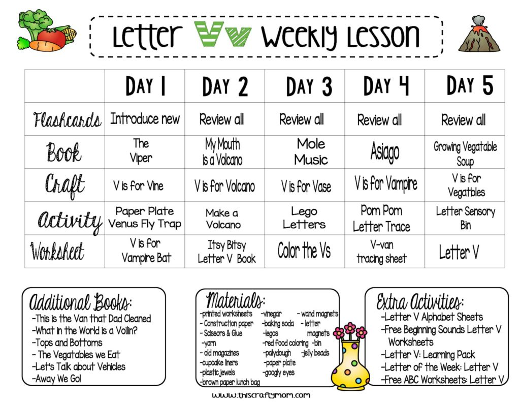 Letter V Free Preschool Weekly Lesson Plan Letter Of