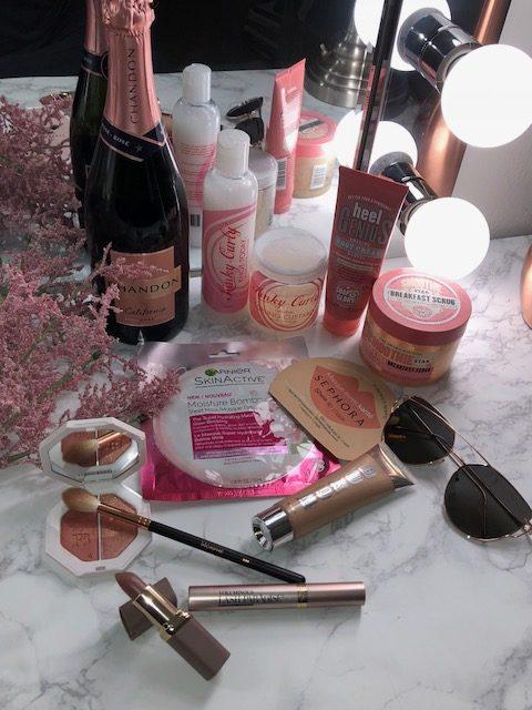 Summer Essentials, Fenty Beauty, Loréal Paris, Garnier, Sephora, Soap and Glory, Kinky-Curly, Chandon Rosé Champagne, Buxom