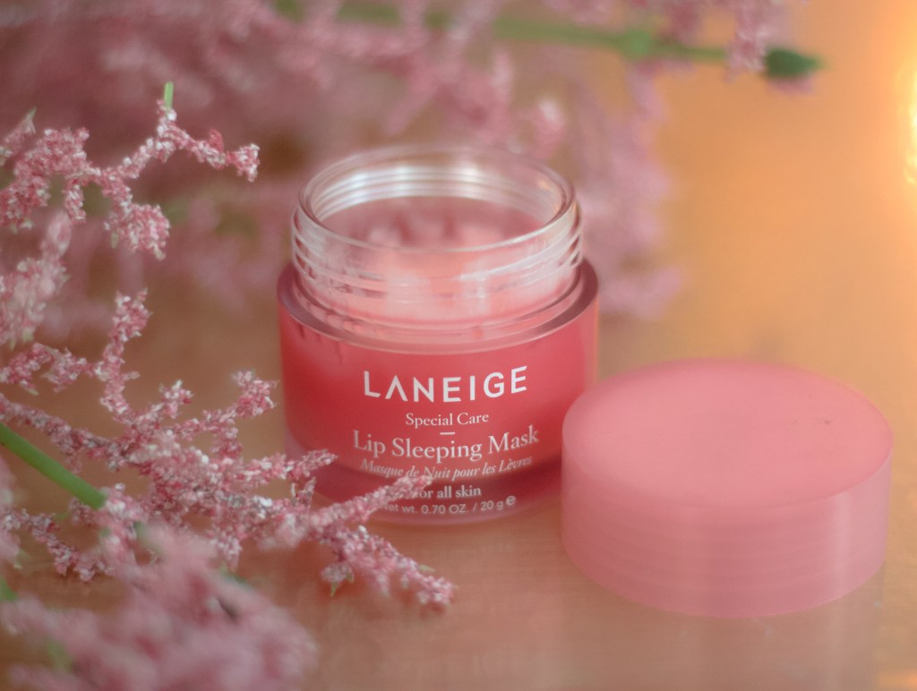 Lip balms, Laneige Lip Sleeping Mask, Biossance Rose Vegan Lip Balm, Fenty Beauty Lip Balm, Fall Lip Balms
