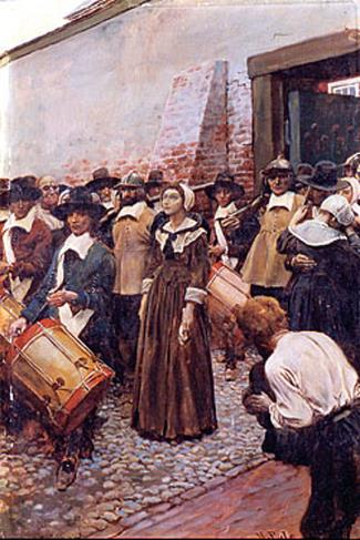 Mary Dyer being led to the gallows in Boston