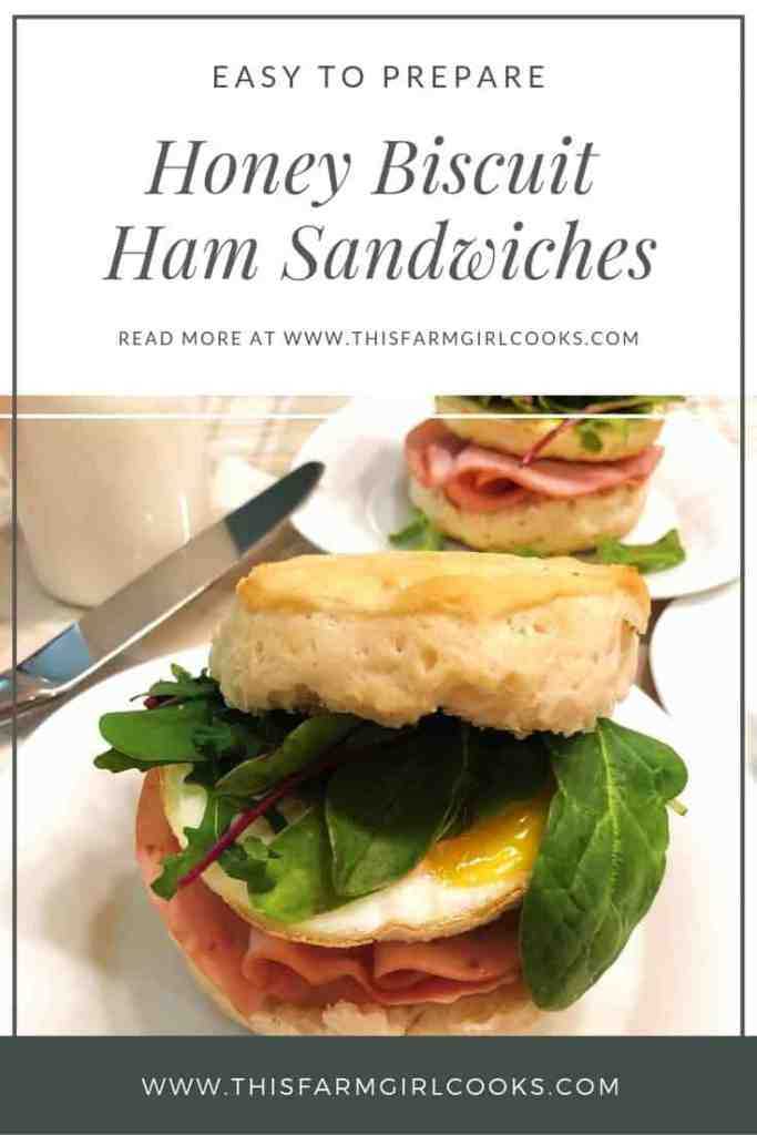 Honey butter is melted into warm ham, egg and Biscuit Breakfast Sandwiches. These make ahead breakfast sandwiches are hearty, salty & sweet all in one!