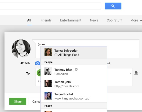 Tagging people in G+
