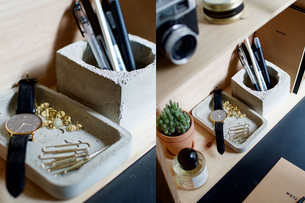cement desk organiser diy gifts for boyfriend