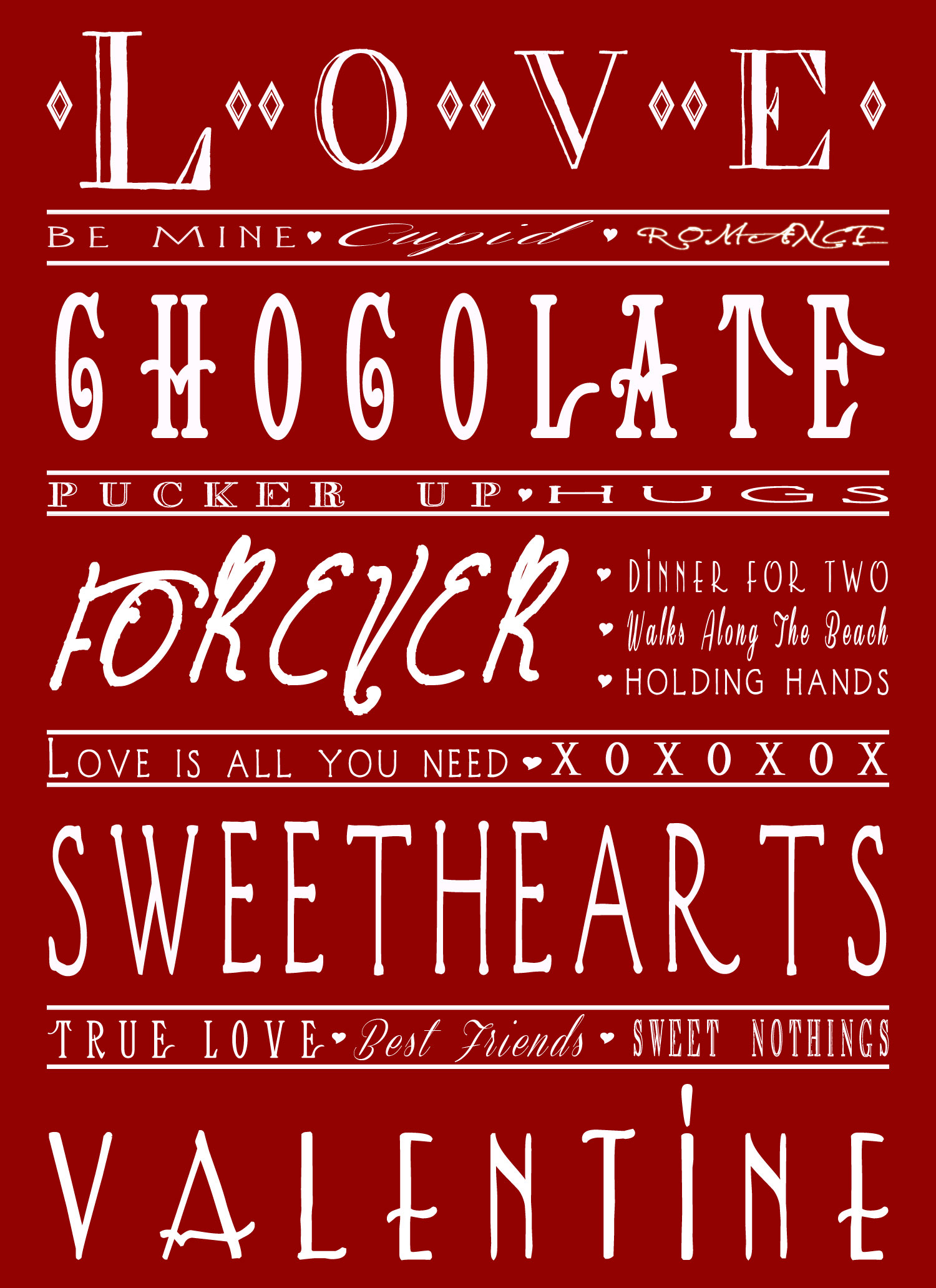 Free Valentine Day Printable 6 Color Schemes