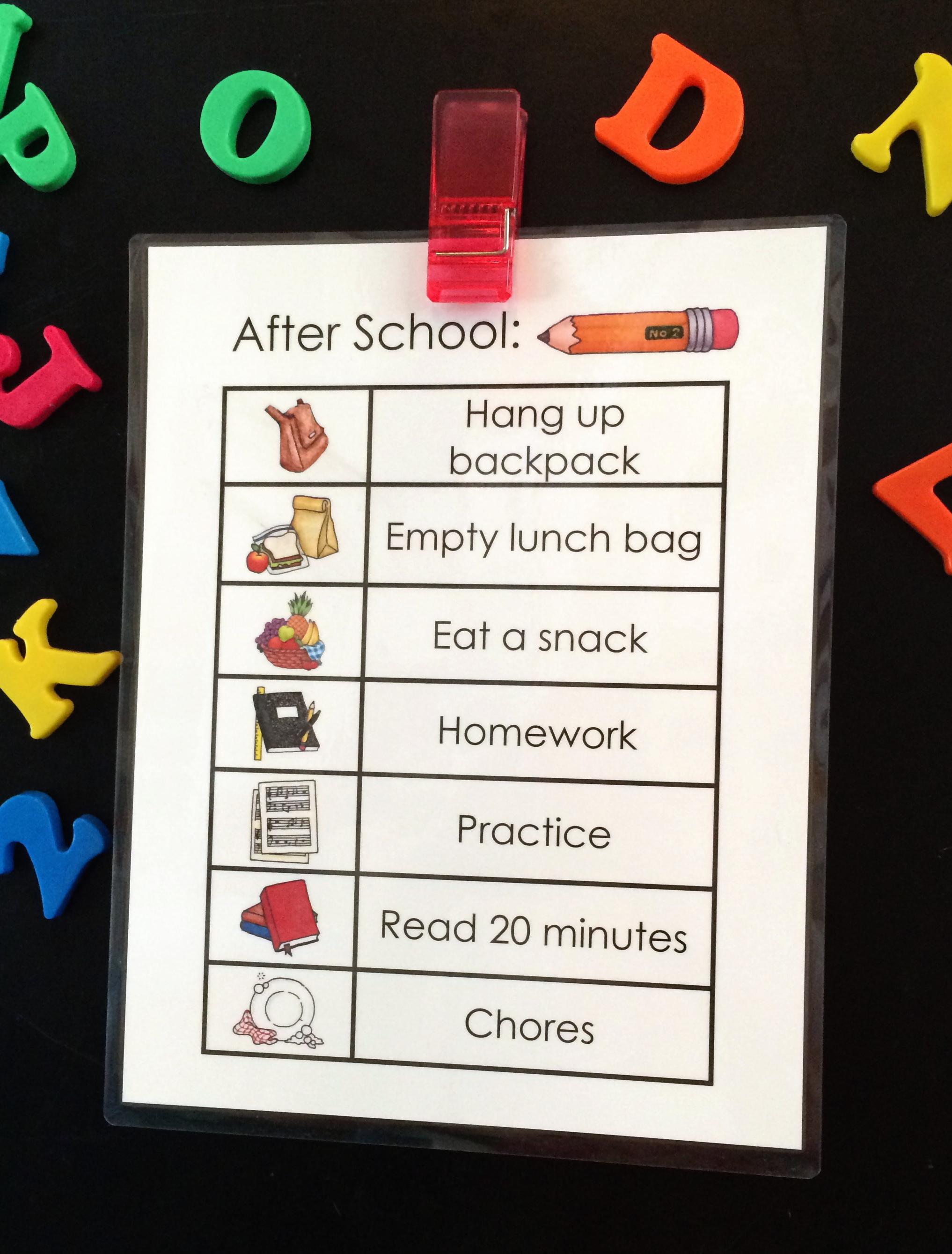 After School Job Chart