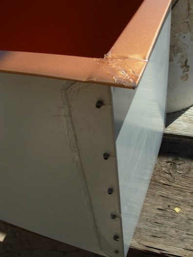 rivets on garden box