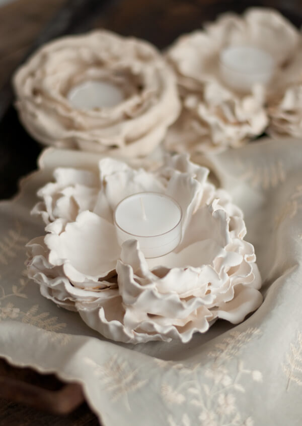 Plaster Flower Votives | this heart of mine
