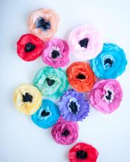 Tissue Paper Flower Magnets