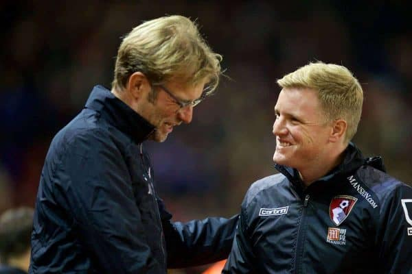 LIVERPOOL, ENGLAND - Wednesday, October 28, 2015: Liverpool's manager Jürgen Klopp and AFC Bournemouth's manager Eddie Howe during the Football League Cup 4th Round match at Anfield. (Pic by David Rawcliffe/Propaganda)