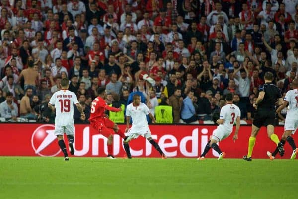BASEL, SWITZERLAND - Wednesday, May 18, 2016: Liverpool's Daniel Sturridge scores the first goal against Sevilla during the UEFA Europa League Final at St. Jakob-Park. (Pic by David Rawcliffe/Propaganda)