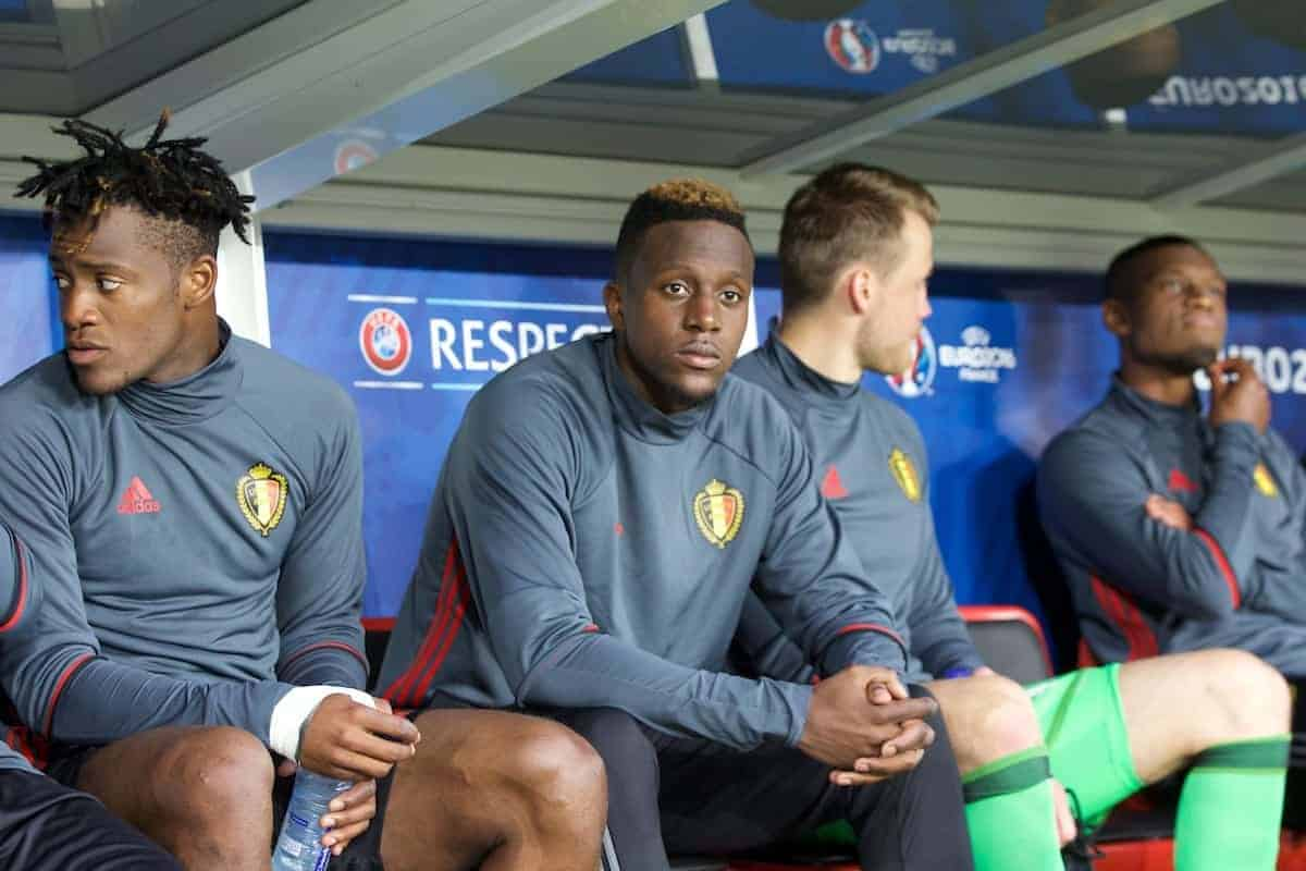 LILLE, FRANCE - Friday, July 1, 2016: Belgium's Divock Origi sits on the substitutes bench ahead of the UEFA Euro 2016 Championship Quarter-Final match against Wales at the Stade Pierre Mauroy. (Pic by Paul Greenwood/Propaganda)