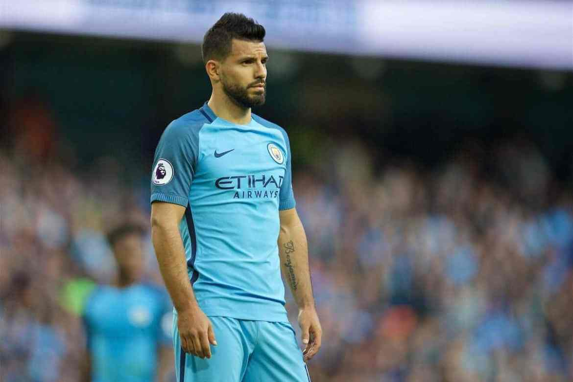 MANCHESTER, ENGLAND - Saturday, October 15, 2016: Manchester City's Sergio Aguero looks dejected during the 1-1 draw with Everton in the FA Premier League match at the City of Manchester Stadium Lane. (Pic by David Rawcliffe/Propaganda)