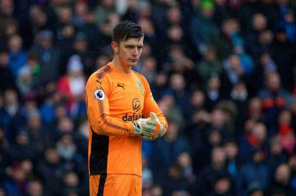 BURNLEY, ENGLAND - Saturday, February 3, 2018: Burnley's goalkeeper Nick Pope during the FA Premier League match between Burnley FC and Manchester City FC at Turf Moor. (Pic by David Rawcliffe/Propaganda)