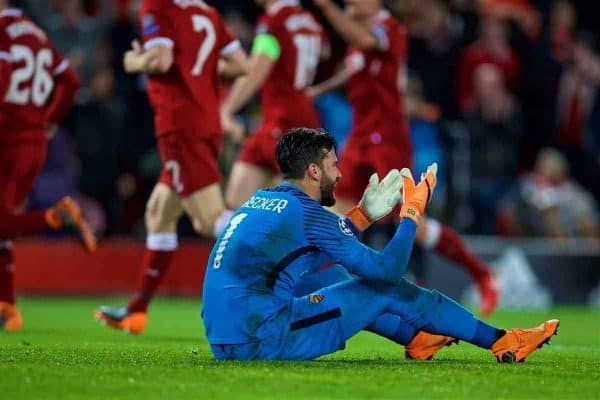 LIVERPOOL, ENGLAND - Tuesday, April 24, 2018: AS Romaís goalkeeper Alisson Becker looks dejected as Liverpool score the fourth goal during the UEFA Champions League Semi-Final 1st Leg match between Liverpool FC and AS Roma at Anfield. (Pic by David Rawcliffe/Propaganda)