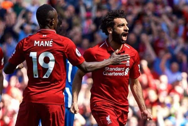 LIVERPOOL, ENGLAND - Sunday, May 13, 2018: Liverpool's Mohamed Salah celebrates scoring the first goal during the FA Premier League match between Liverpool FC and Brighton & Hove Albion FC at Anfield. It was his 32nd league goal of the season making him the leading scorer. Liverpool won 4-0. (Pic by David Rawcliffe/Propaganda)