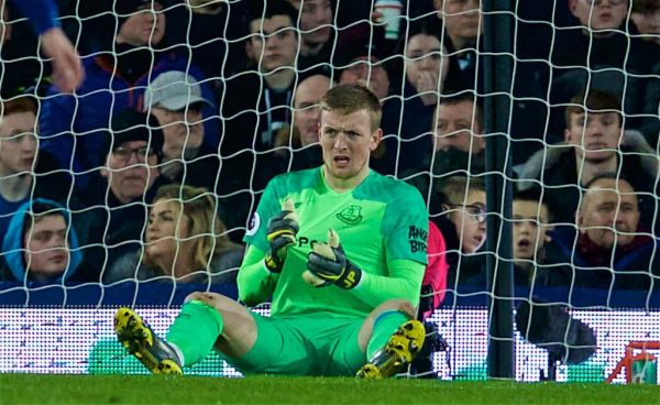 LIVERPOOL, ENGLAND - Wednesday, February 6, 2019: Everton's goalkeeper Jordan Pickford looks dejected during the FA Premier League match between Everton FC and Manchester City FC at Goodison Park. (Pic by David Rawcliffe/Propaganda)