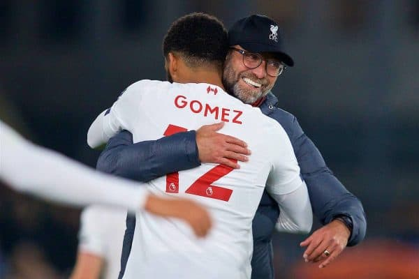 LONDON, ENGLAND - Saturday, November 23, 2019: Liverpool's manager Jürgen Klopp celebrates with Joe Gomez after the FA Premier League match between Crystal Palace and Liverpool FC at Selhurst Park. Liverpool won 2-1. (Pic by David Rawcliffe/Propaganda)