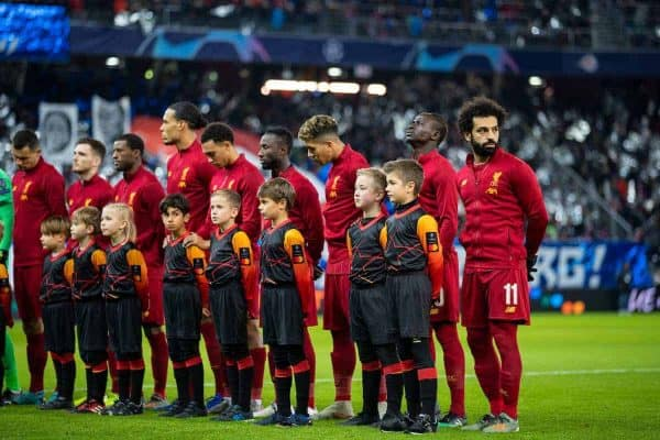 SALZBURG, AUSTRIA - Tuesday, December 10, 2019: Liverpool players line-up with the mascots before the final UEFA Champions League Group E match between FC Salzburg and Liverpool FC at the Red Bull Arena. (Pic by David Rawcliffe/Propaganda)
