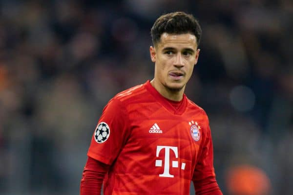MUNICH, GERMANY - Wednesday, December 11, 2019: Bayern Munich's Philippe Coutinho Correia during the final UEFA Champions League Group B match between FC Bayern München and Tottenham Hotspur FC at the Allianz Arena. (Pic by David Rawcliffe/Propaganda)