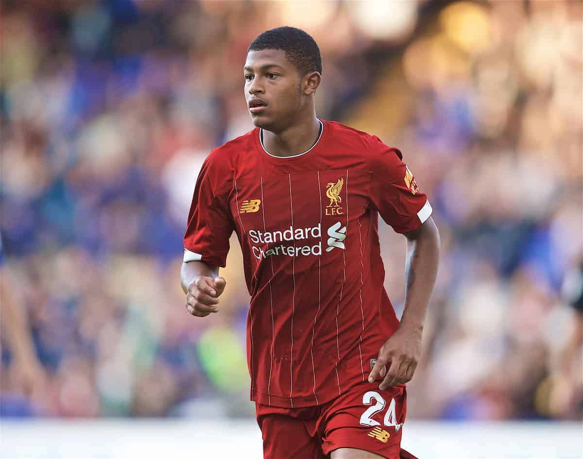 BIRKENHEAD, ENGLAND - Thursday, July 11, 2019: Liverpool's Rhian Brewster during a pre-season friendly match between Tranmere Rovers FC and Liverpool FC at Prenton Park. (Pic by David Rawcliffe/Propaganda)
