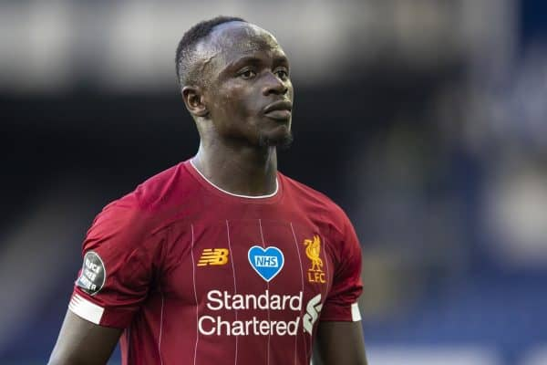 LIVERPOOL, ENGLAND - Sunday, June 21, 2019: Liverpool's Sadio Mané walks off the pitch at half-time during the FA Premier League match between Everton FC and Liverpool FC, the 236th Merseyside Derby, at Goodison Park. The game was played behind closed doors due to the UK government's social distancing laws during the Coronavirus COVID-19 Pandemic. (Pic by David Rawcliffe/Propaganda)