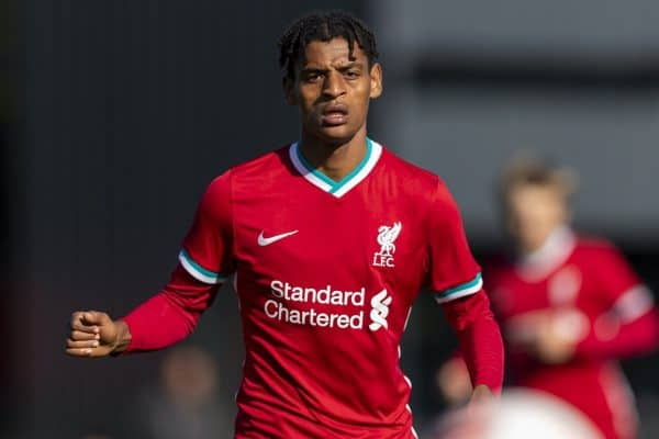 KIRKBY, ENGLAND - Saturday, September 26, 2020: Liverpool's Melkamu Frauendof during the Under-18 Premier League match between Liverpool FC Under-18's and Manchester City FC Under-18's at the Liverpool Academy. Manchester City won 3-1. (Pic by David Rawcliffe/Propaganda)