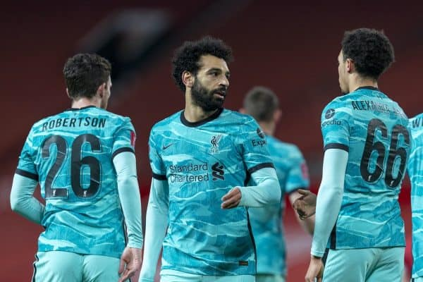 LIVERPOOL, ENGLAND - Sunday, January 24, 2021: Liverpool's Mohamed Salah celebrates after scoring the first goal during the FA Cup 4th Round match between Manchester United FC and Liverpool FC at Old Trafford. Manchester United won 3-2. (Pic by David Rawcliffe/Propaganda)