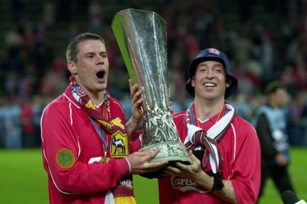 Football - UEFA Cup Final , Liverpool v CD Alaves - 16/5/01 Liverpool's Jamie Carragher and Robbie Fowler celebrate winning the UEFA Cup Mandatory Credit:Action Images/Darren Walsh Digital