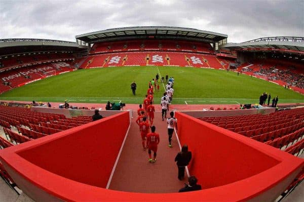 LIVERPOOL, ENGLAND - Sunday, February 5, 2017: Liverpool and Tottenham Hotspur players walk out before FA Premier League 2 Division 1 Under-23 match at Anfield. (Pic by David Rawcliffe/Propaganda)