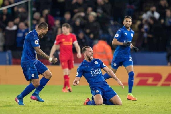 LEICESTER, ENGLAND - Monday, February 27, 2017: Leicester City's Danny Drinkwater celebrates scoring second goal during the FA Premier League match against Liverpool at the King Power Stadium. (Pic by Gavin Trafford/Propaganda)